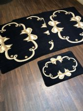 ROMANY GYPSY WASHABLES SETS OF 4 MATS BLACK BEIGE NON SLIP GYPSY RUGS STUNNING